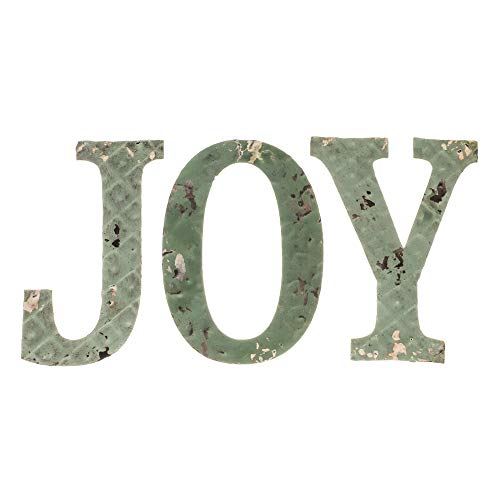 Heart Smiles - Set of Hanging Letters 'Joy', Handmade - Pressed Metal - Farmhouse Rustic, Wall Sign, Festive and Inspirational Decoration
