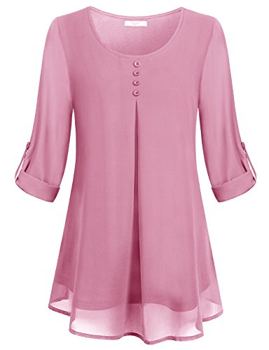 (Cestyle Pink Blouses for Women,Juniors Elegant Scoop Neck Rolled Up Long Sleeve Lightweight Button Décor Chiffon Shirts Office Flowy Tunic Tops XX-Large )