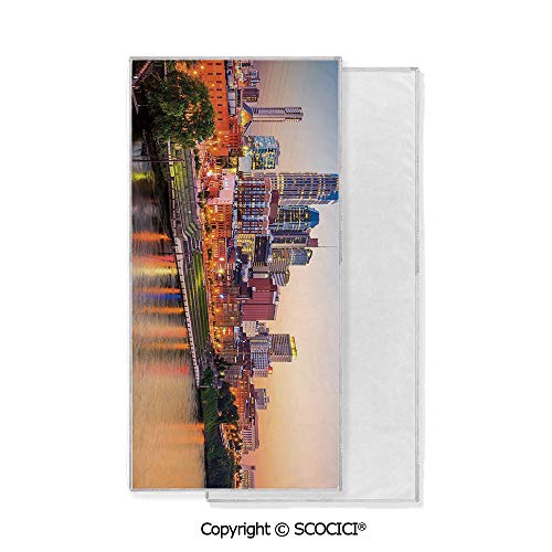- Long-Lasting and Soft Lightweight Quick-Dry Polyester Towel,Cumberland River Nashville Tennessee Evening Architecture Travel Destination (15x30 inch),Suitable For Camping, Running, Cycling, Gym,Highl