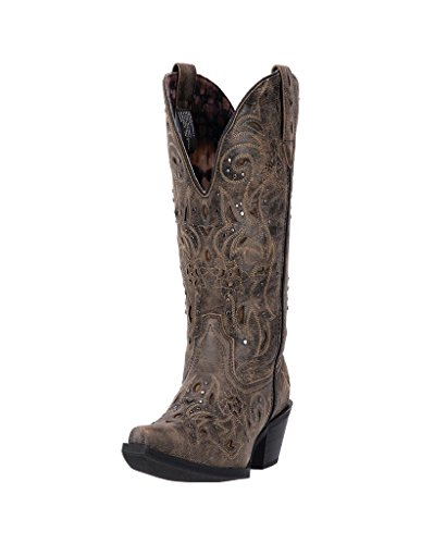 (Laredo Women's 12'' Vanessa Snip Toe Western Casual Boots, Brown Leather, 10 W)