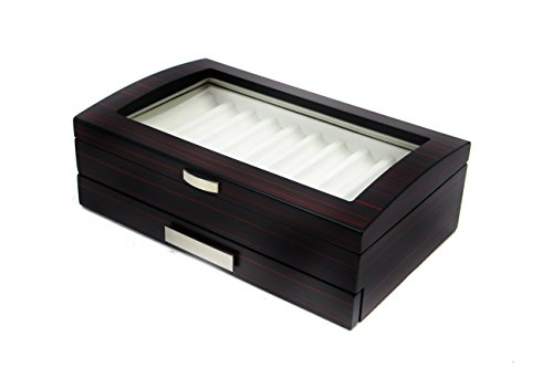 - Decorebay Executive Double Drawer Wooden Grain 20 Fountain Pen Collector Organizer Box with Glass Window (Ebony)