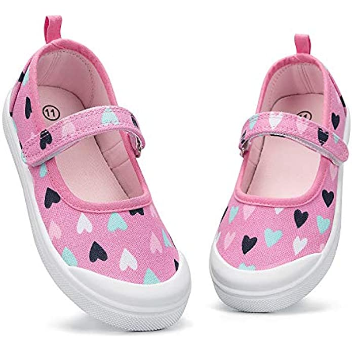 K KomForme Toddler Canvas Mary Jane Shoes, Girls Ballet Flats Toddler Sneakers Dress Shoes