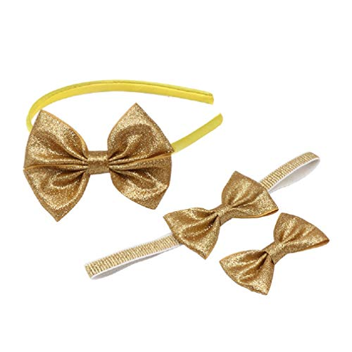 3 Pcs Sequin Bow Headband Soft Elastics Hairband Hair Alligator Clips Set, Girl Women Party Cosplay Christmas Hair Accessories, Elegant and Shiny Hairstyles to Look Extra Girly(Gold)