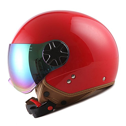 1STORM MOTORCYCLE SCOOTER BIKE OPEN FACE/HALF FACE HELMET CLASSIC RED