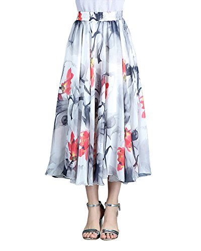 ZiXing Jupe Beach Femme Taille lastique Chiffon Boho Casual Robe Dt Plage Flower10