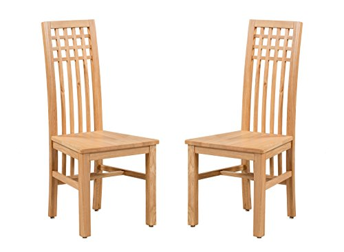 (Trithi Furniture - Creswell American Solid Oak Dining Chair with Wooden Seat - Set of 2 (Natural Oak))