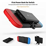 For Nintendo Switch Attached Power Bank, Marval.P GuliKit Battery Master, 10000mAh 5V/3A Flash Rechargeable Tech, Backup Battery Pack Charging Case for Extending 10+ Playing Hours