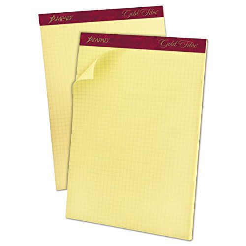 Ampad 22143 Gold Fibre Canary Quadrille Pad, 8 1/2 x 11 3/4, Canary, 50 Sheets