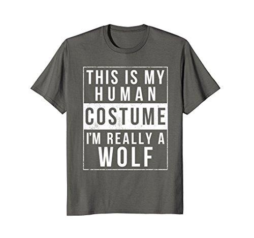 [Mens Wolf Halloween Costume Shirt Funny Easy for Kids Men Women Large Asphalt] (Easy College Costume Ideas)
