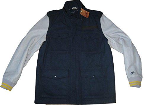 Nike 65 Sportswear NSW Mens Leather Wool Destroyer Jacket Coat Blue Gry