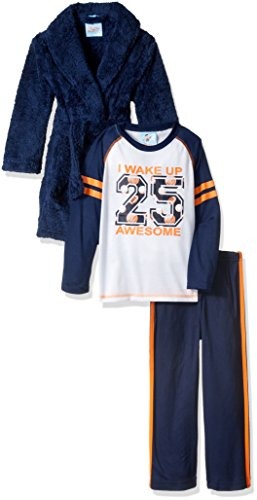 Bunz Kidz Boys' Little Boys' I Woke up Awesome Robe and 2pc Pajama Set, Navy, 6