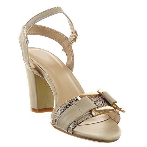 Sopily - damen Mode Schuhe Sandalen glänzende Schlangenhaut Schleife - Beige