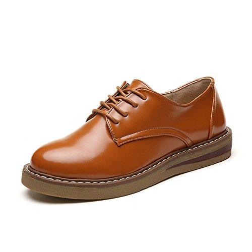 T-juli Damesmode Oxfords Schoenen - Comfortabele Platform Lage Hak Ronde Neus Glanzende Casual Schoenen Bruin