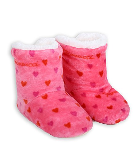 ICONOFLASH Womens Printed Bootie Slipper with Faux Shearling Lining Pink Hearts 66sIh1FZ