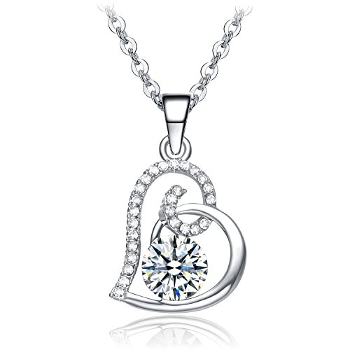 NEEMODA White Gold Plated Heart Pendant Necklace with Austrian Crystals Fashion Womens Jewelry Gift for Her Birthday Anniversary Christmas Valentines Day (Austrian Pendant Necklace Crystal Heart)