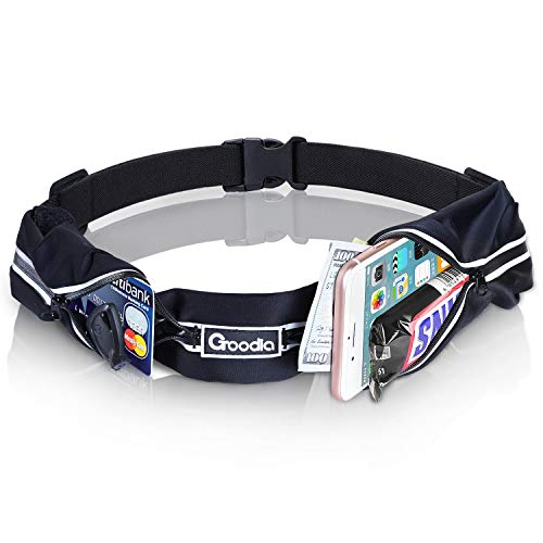 Goodia Running Belt, Sports Running waist belt Pouch Sweatproof Fitness Waist Pack,2 Expandable Pockets for Runners,Athletes,Men Women,fits the smartphoes all up to 6 size Black