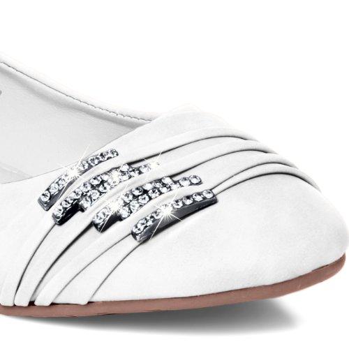Caspar Femme Ballerines Petites Chaussures Boucles Blanc Sba004 Et Strass Avec Pour ftqfFwr
