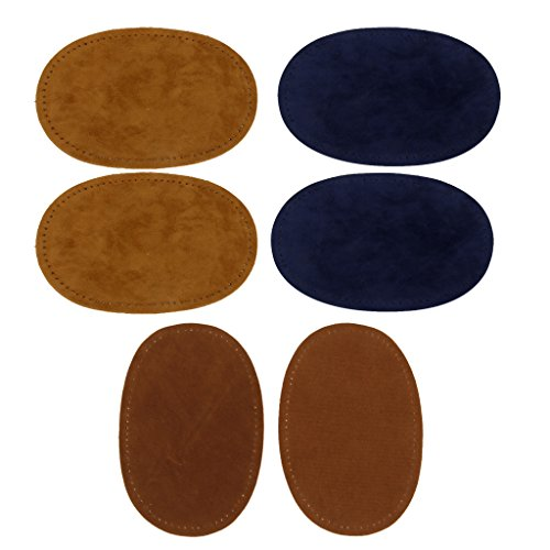 Homyl 3 Pairs Oval Suede Fabric Elbow Knee Patches Iron on Sew-on Repair Kit