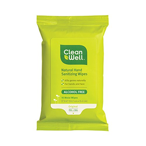 Cleanwell All Natural Hand Sanitizing Pocket Pack Wipes, 10-count Resealable Package (Pack of 8)