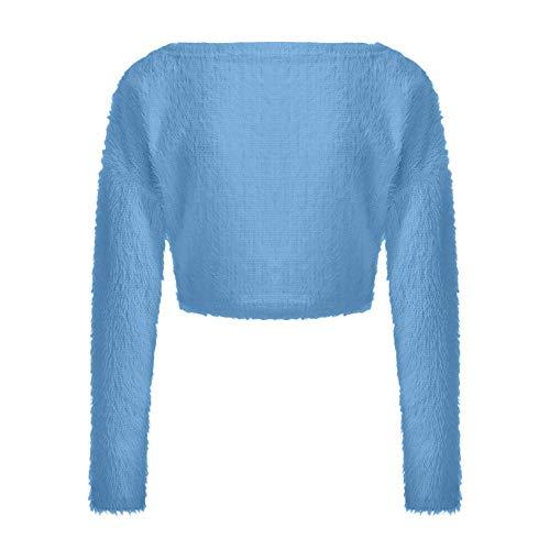 Profundo Cardigan Sólido Larga Con Vjgoal Manga En Suéter Escudo Abajo Moda Azul Otoño Invierno V Mujer Botones Color Diseñado Sexy Escote Casual E wwpqvUxR