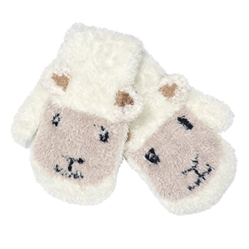 Patrick Francis Ireland Kids Woolly Sheep Face Mittens, Cream Colour by Patrick Francis