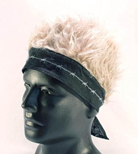 (Brand New Novelty Billy Bob Bandana with Crazy Spiked Blonde Hair)