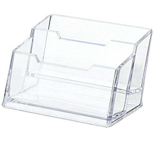 Hamosky Business Card Case Holder, 2 Tier Premium Acrylic Clear Business Card Holder Display, Plastic Business Card Stand Organizer for Office(1 Pack)