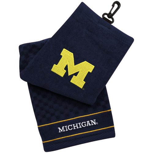 Michigan Wolverines Embroidered Towel - Michigan Wolverines Navy Blue Embroidered Team Logo Tri-Fold Towel