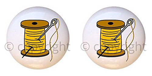 SET OF 2 KNOBS - Needle and Yellow Thread - Sewing Crafts by CCL - DECORATIVE Glossy CERAMIC Cupboard Cabinet PULLS Dresser Drawer KNOBS from Farm Fresh Knobs & Pulls