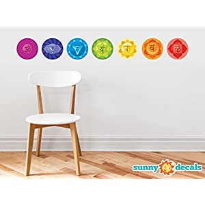 Sunny Decals Chakra Energy Centers Wall Decal – Set of 7 Removable Fabric Wall Stickers for Yoga or Mediation