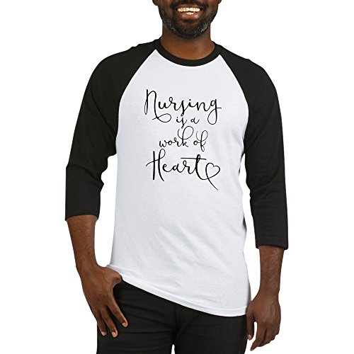 CafePress Nursing Is A Work Of Heart - Cotton Baseball Jersey, 3/4 Raglan Sleeve Shirt (Heart Jersey Baseball)