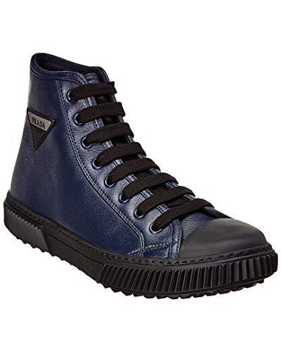 (Prada Leather High-Top Sneaker, 6.5 UK, Blue)
