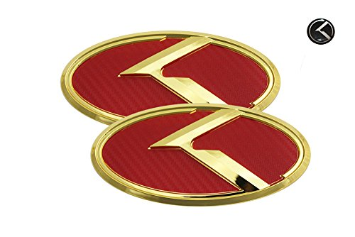 3D K Logo Emblem Red Carbon Fiber & Gold Edition Set 3pc Front + Rear + Mini Sticker (Fit: KIA 2011-2018 Optima K5)