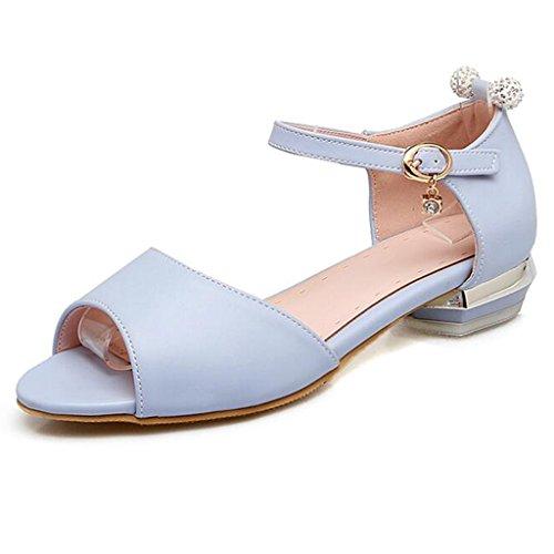 Été Plates Sandales Enveloppant Chaussures Femmes Femme D'étudiant Pour Talon Pu Bleu Tddqf