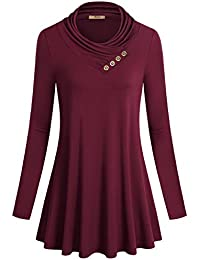 Women's Long Sleeve Cowl Neck Form Fitting Casual Tunic...