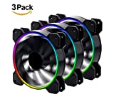 EZDIY-FAB 3-Pack New Eclipse Wireless Adjustable RGB LED 120mm Case Fan, Quiet Edition High Airflow, CPU Coolers, Radiators System