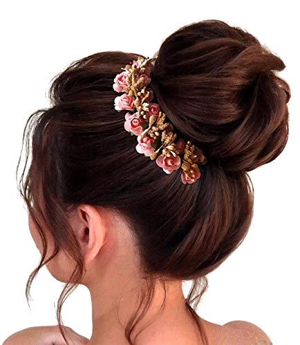 Buy Hair Flare Women S 1772 Pins Artificial Flowers Hair Accessories Weddings With Donut Peach Online At Low Prices In India Amazon In