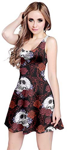 CowCow Womens Black Elegant Skulls with Roses Pattern Sleeveless Dress - M (Skull Dress For Women)