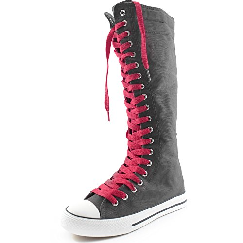 DailyShoes Womens Canvas Mid Calf Tall Boots Casual Sneaker Punk Flat, Grey Boots, Cherry Lace