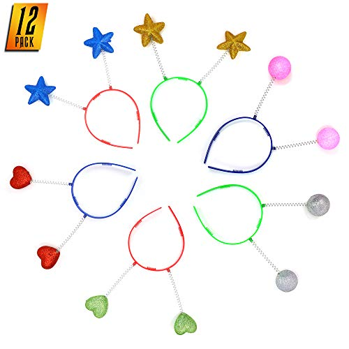 Skeleteen Glitter Antenna Head Boppers - Rainbow Shapes Novelty Headbands - 12 Pieces -