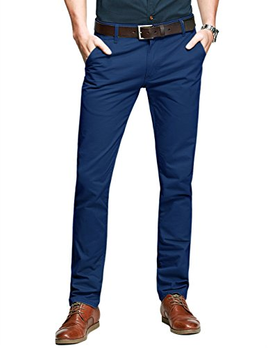 - Match Mens Slim-Tapered Flat-Front Casual Pants(Sapphire blue,32)