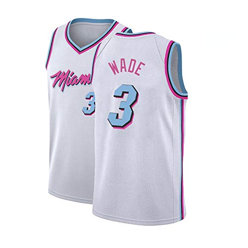 Gumfor Mens Miami 3 Wade Jersey Adult City Basketball Dwyane Sizes White (White, Medium) ()