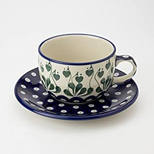Polish Pottery Teacup and Saucer – Love Leaf – 200ml