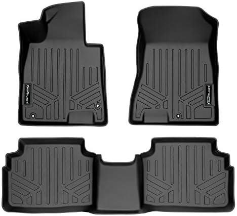SMARTLINER Custom Fit Floor Mats 2 Row Liner Set Black for 2020-2021 Hyundai Sonata/2021 Kia K5 (Only FWD Models)
