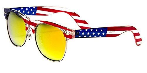 Classic American Patriot Flag Wayfarer Style Sunglasses USA Half Rim Clubmaster (Fire Mirror lens)
