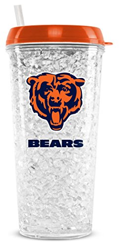 (NFL Chicago Bears 16oz Crystal Freezer Tumbler with Lid and Straw)