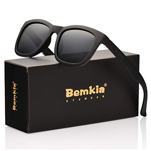 Sunglasses Adult Outdoor (Bemkia Wayfarer Sunglasses Polarized Men Women Outdoor UV 400 Protection 54MM (538-23-Black, 54))