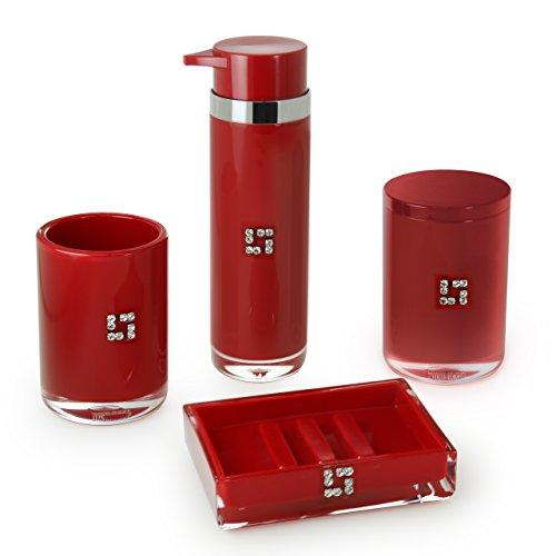 IMMANUEL Royal 4 Piece Red MS Acrylic Bathroom Accessories Set, Crystal Embellishments