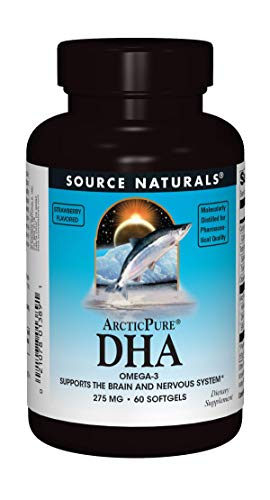 Source Naturals ArcticPure DHA Omega-3 Fish Oil 275mg Maximum Potency Brain, Mood, Joint & Heart Health Support - Non-Fishy Strawberry Flavor - 60 Softgels