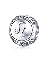 Zodiac Sign Charm fit Pandora Charms Bracelet, 925 Sterling Silver Plated Platinum Star Bead Charm 12 Horoscope Constellation Charm for Bracelet and Necklace, Birthday GIFS